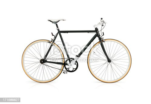 Fixie style black bicycle with full clipping path isolated on white background.