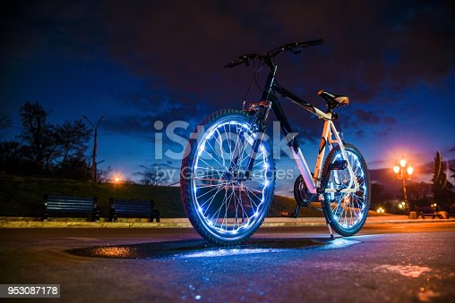 bicycle with luminous wheels