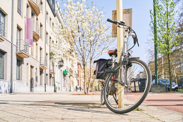 Bicycle with pannier bags trunk for luggage parked on the sunny spring street with blooming trees. Copy space. stock photo