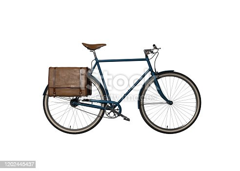 Bicycle with blue frame and leather panniers, shot on a white background
