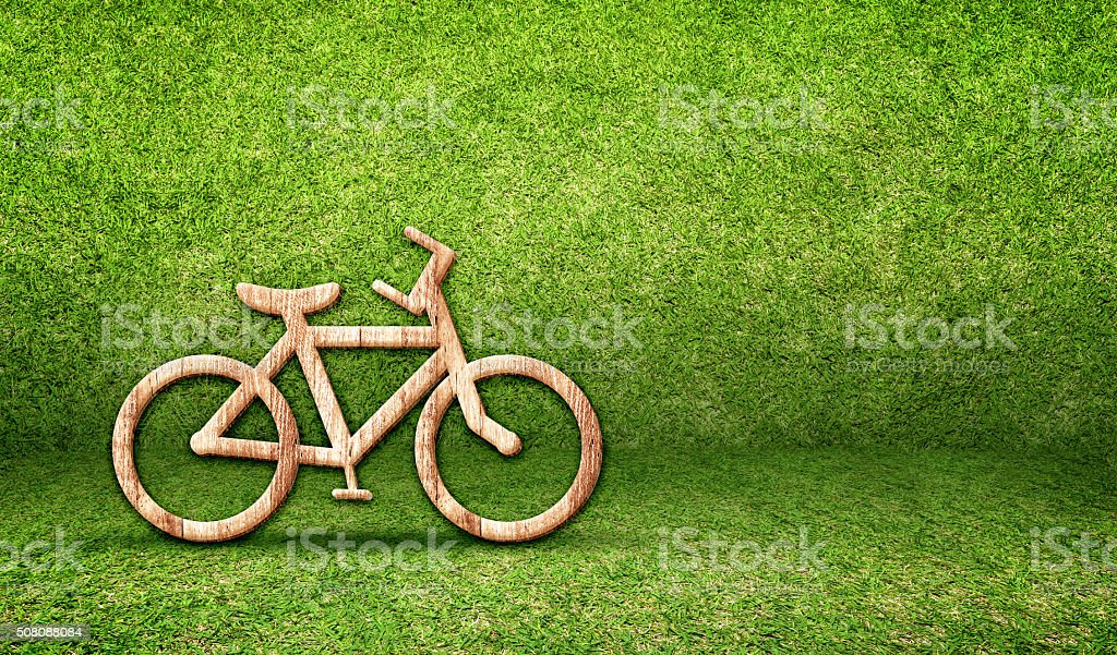Bicycle wood icon in green grass room,Eco concept stock photo