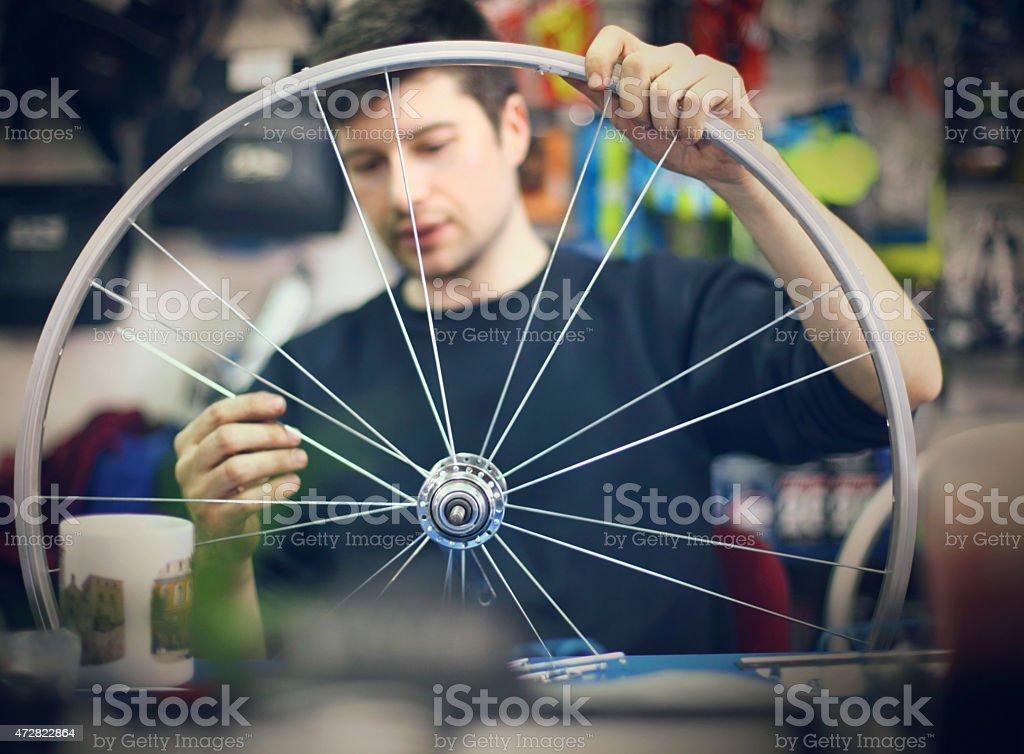 Bicycle workshop. stock photo