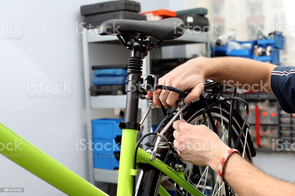 Bicycle workshop royalty-free stock photo