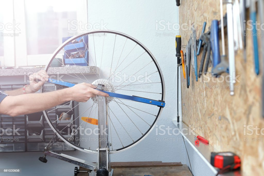 Bicycle workshop royalty-free stock photo