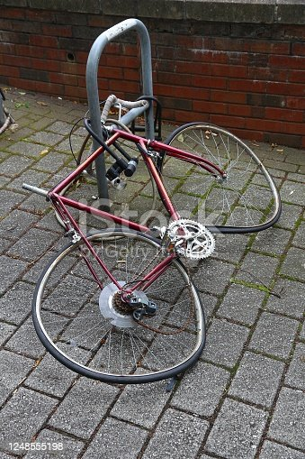 Vandalism problem - city bicycle damaged and broken. Sheffield, UK.