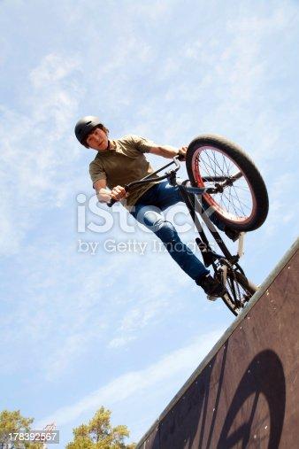 istock BMX bicycler on  ramp 178392567