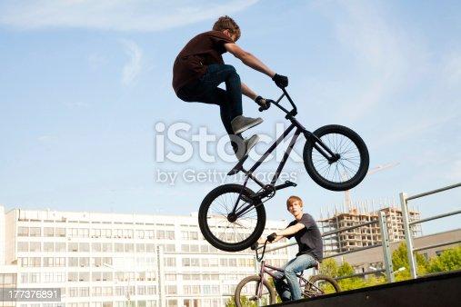 istock BMX bicycler over ramp 177376891