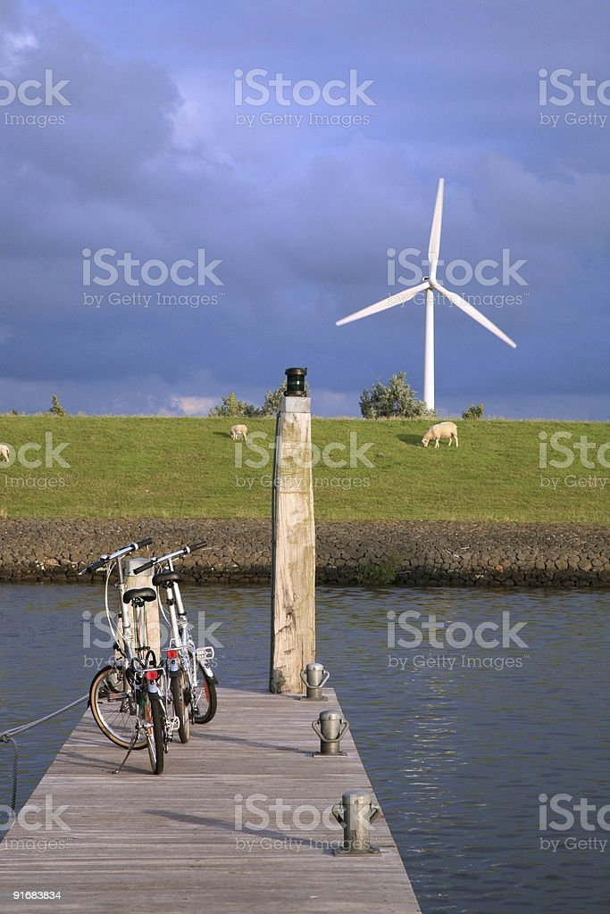 Bicycles above the canal royalty-free stock photo