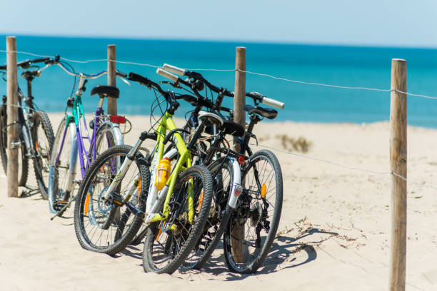 bicycles at ile d'oleron beach in france stock photo