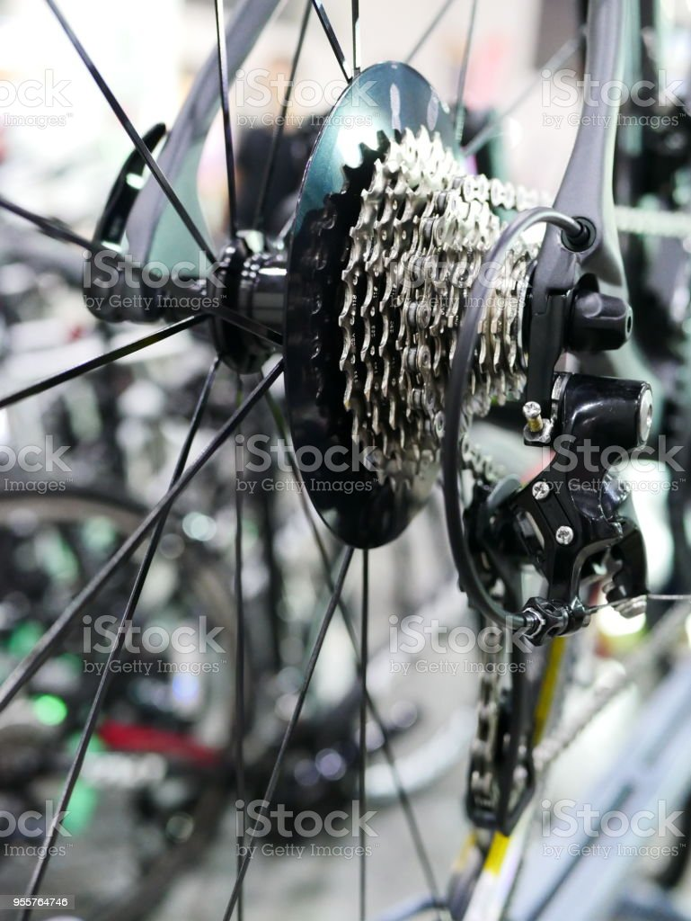 Bicycle's dirty gear stock photo