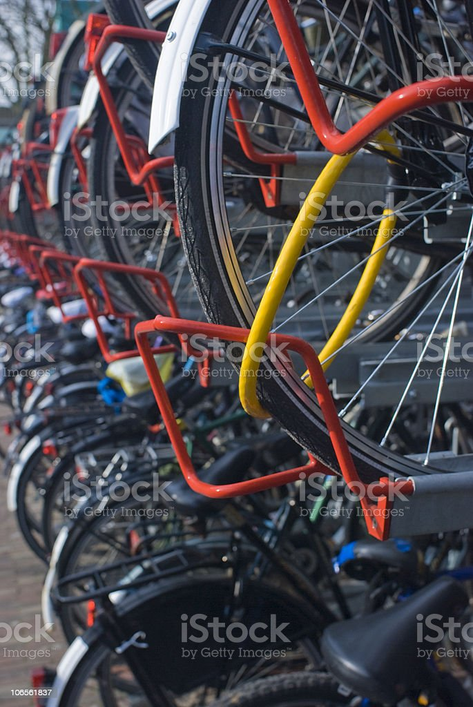 Bicycles; Double decker bicycle parking solution stock photo