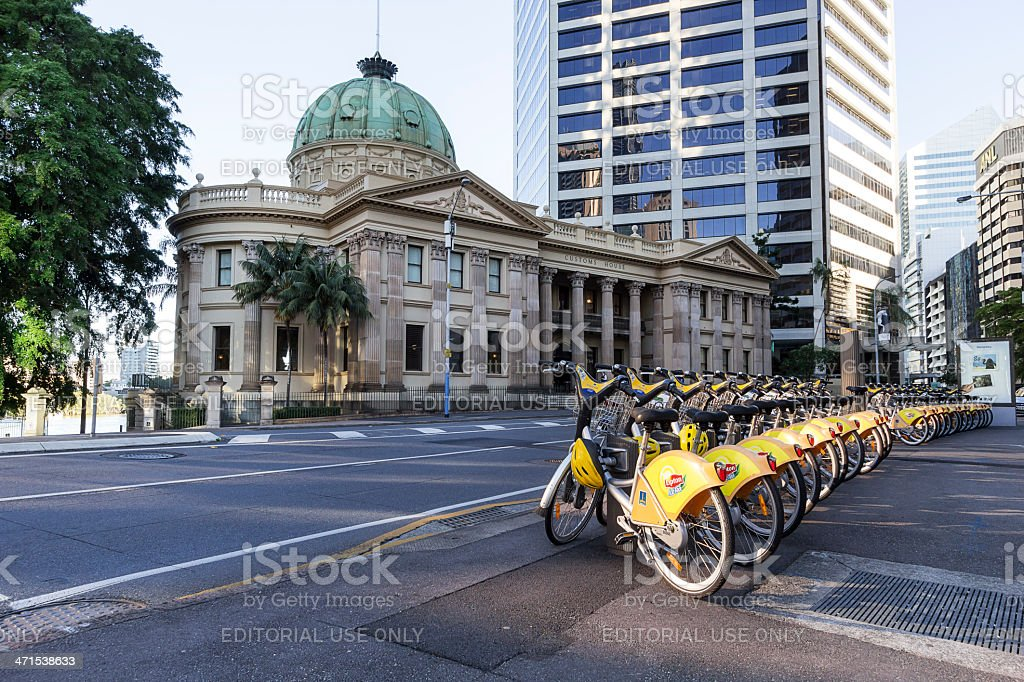 Bicycles for hire in Brisbane royalty-free stock photo