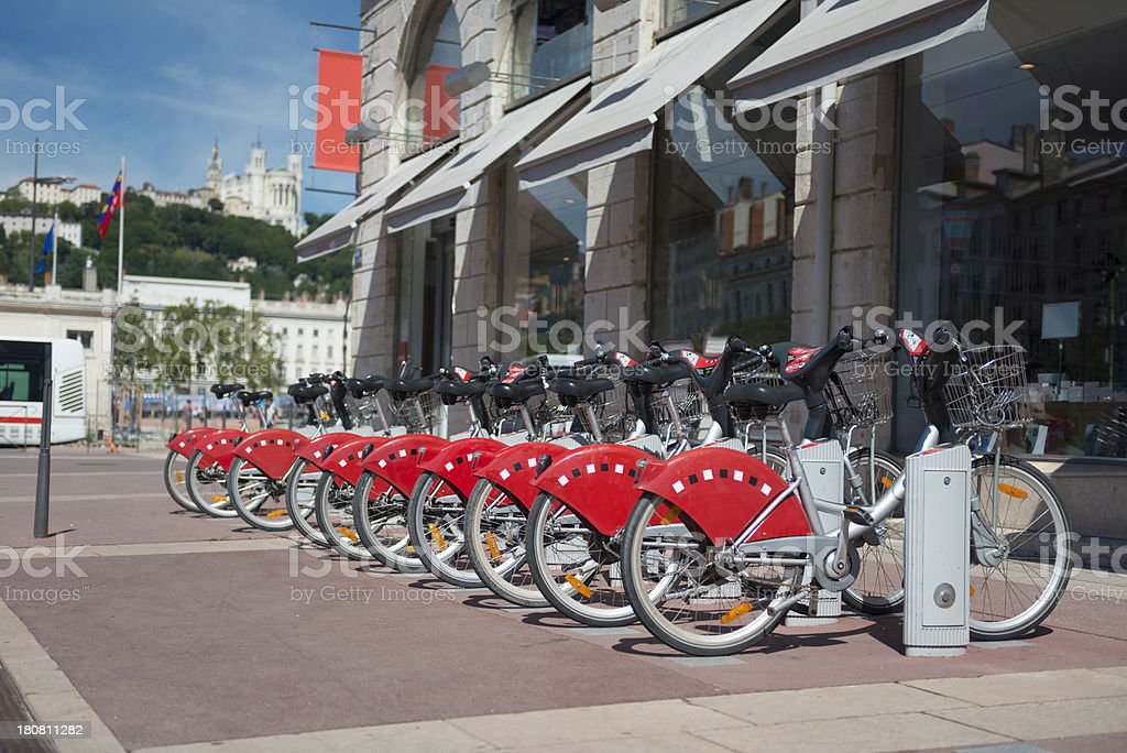 Bicycles For Rent in Lyon, France royalty-free stock photo
