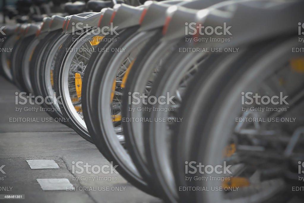 Bicycles for Rent - Velib Paris royalty-free stock photo