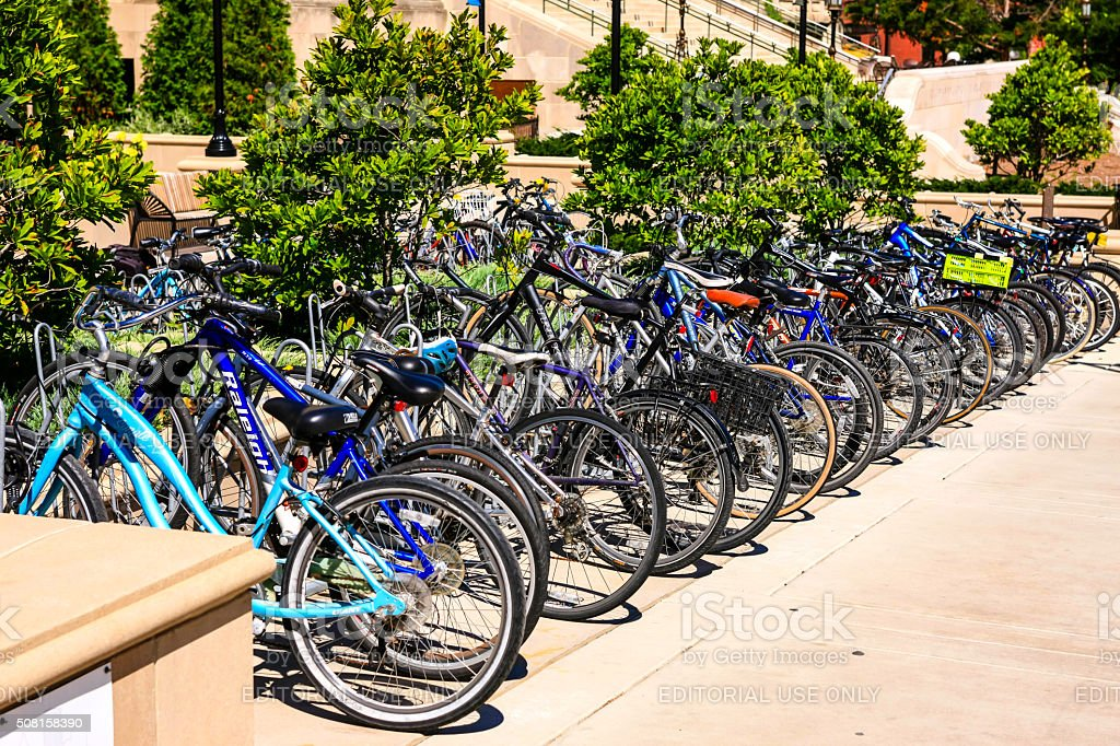 Bicycles in a parking rack at UW madison stock photo