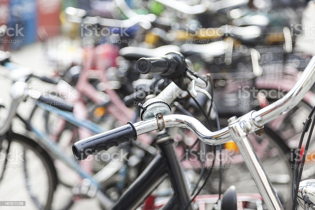 Bicycles in a row royalty-free stock photo