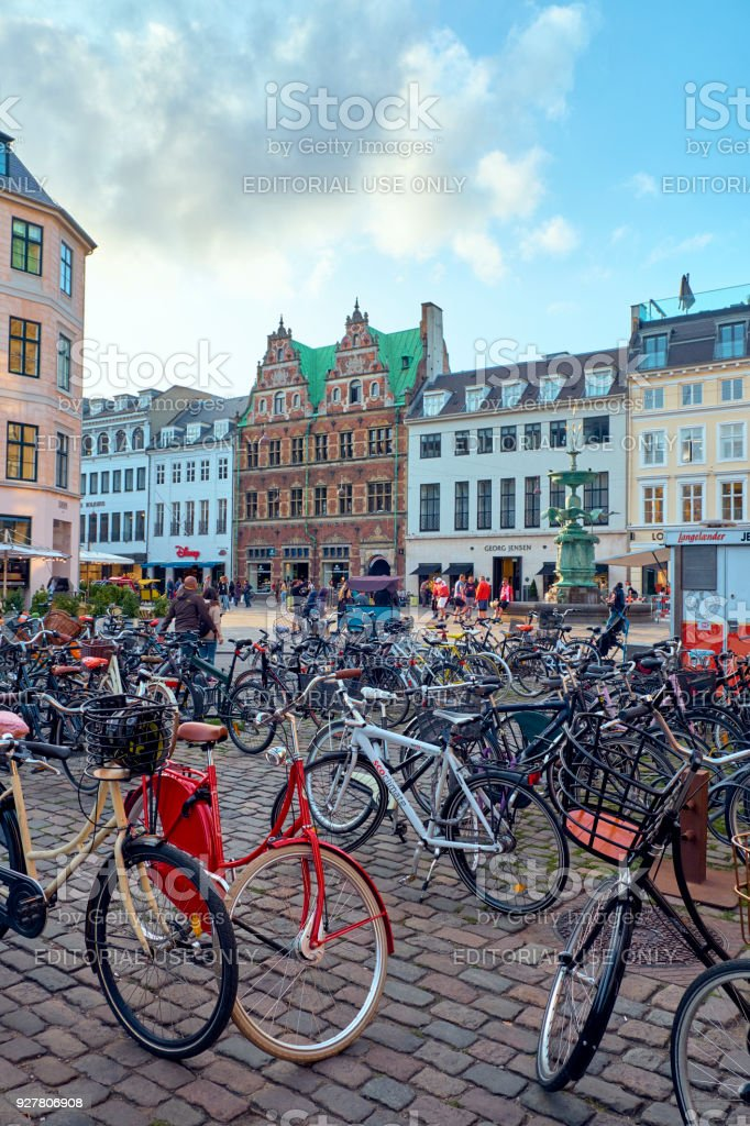 Bicycles in Amagertorv square stock photo