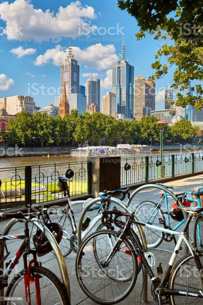 Bicycles in Melbourne, Australia stock photo