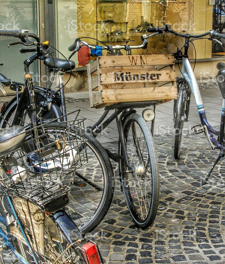 Bicycles in Münster stock photo