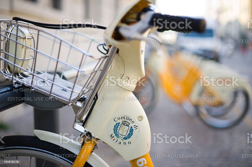 bicycles in rent, MIlan, Italy stock photo