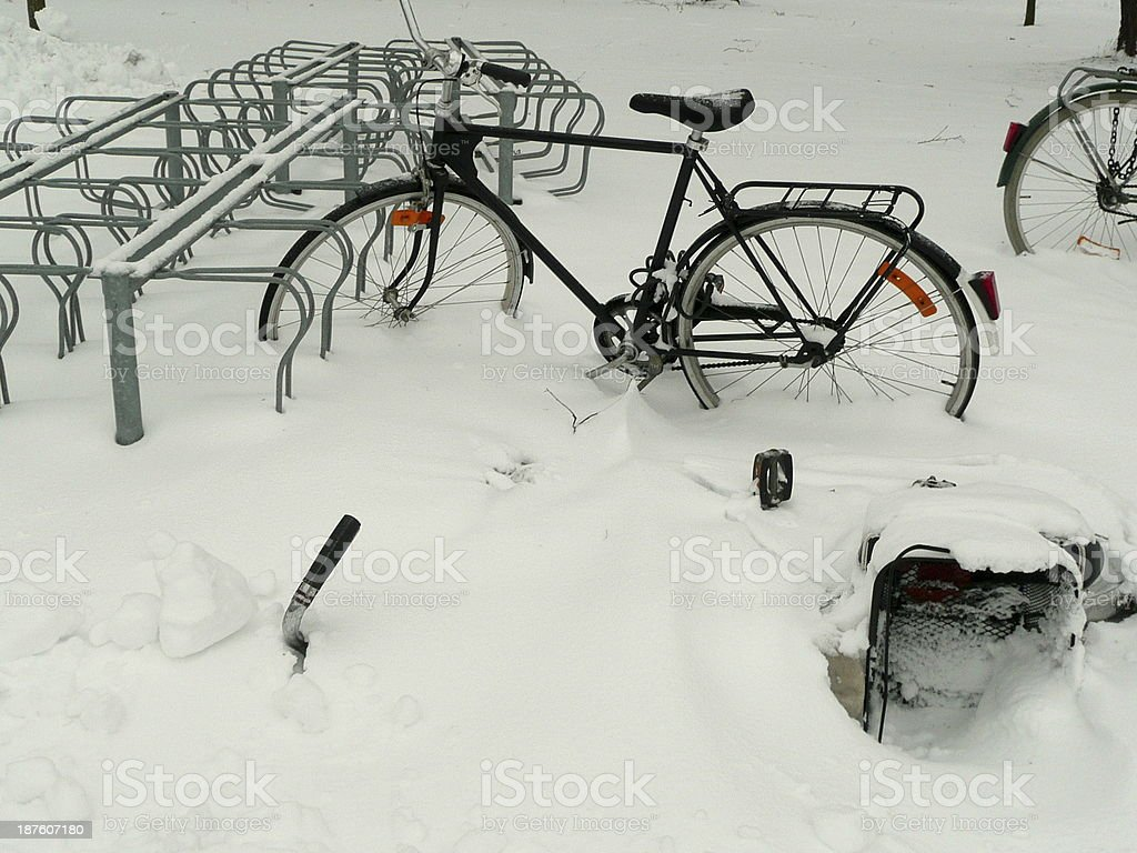 Bicycles in snow royalty-free stock photo