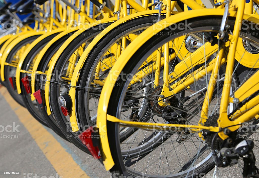 bicycles in the store of the urban bike-sharing stock photo