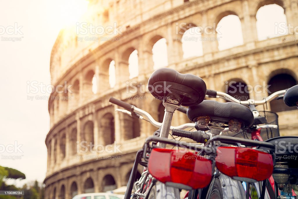 Bicycles near Colosseum (Rome, Italy) royalty-free stock photo