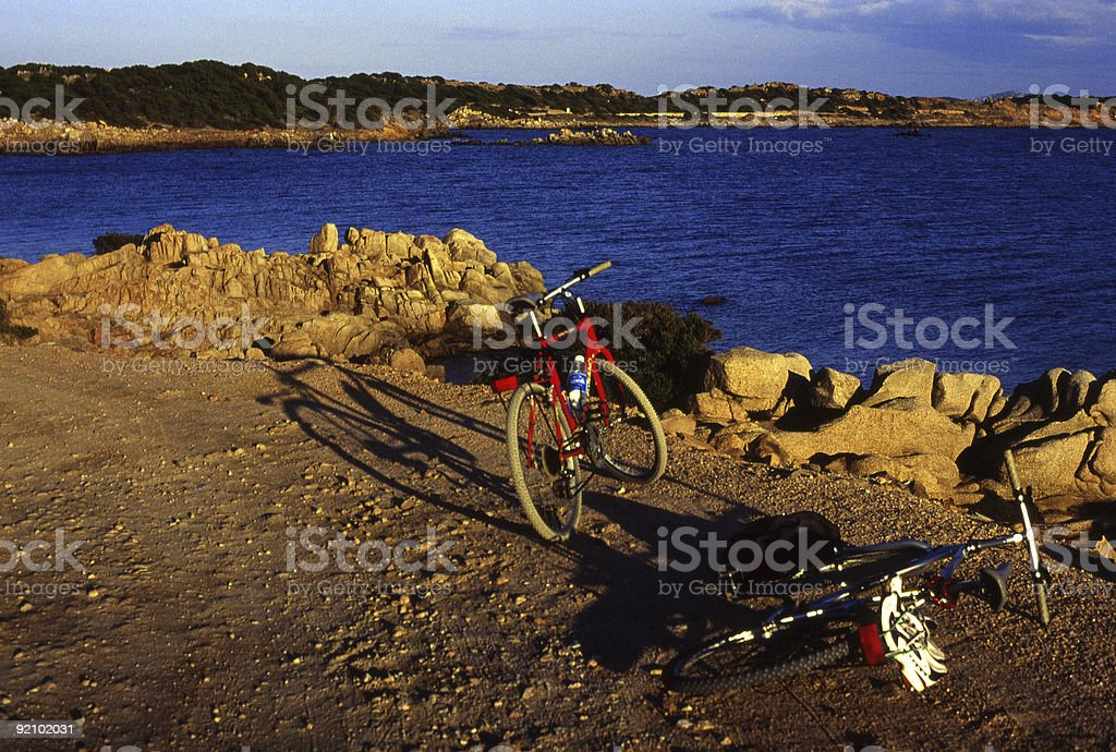 Bicycles on an Island stock photo