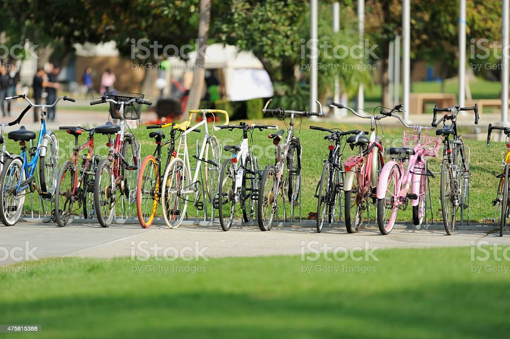 Bicycles on campus stock photo