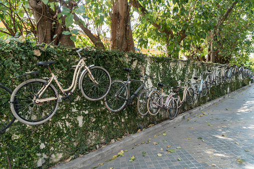 bicycles on the wall in Bangkok