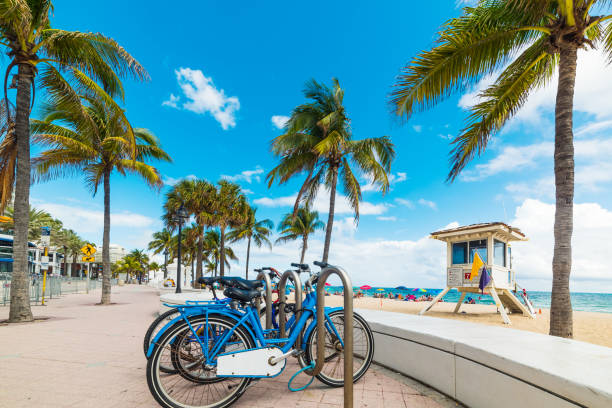 Bicycles parked on Fort Lauderdale seafront Bicycles parked on Fort Lauderdale seafront. Southnern Florida, USA miami beach stock pictures, royalty-free photos & images