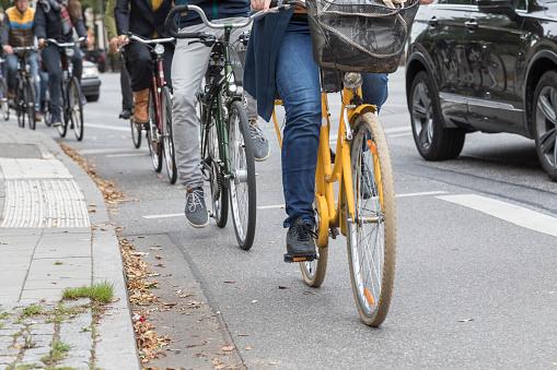 Busy cycle lane in Hamburg