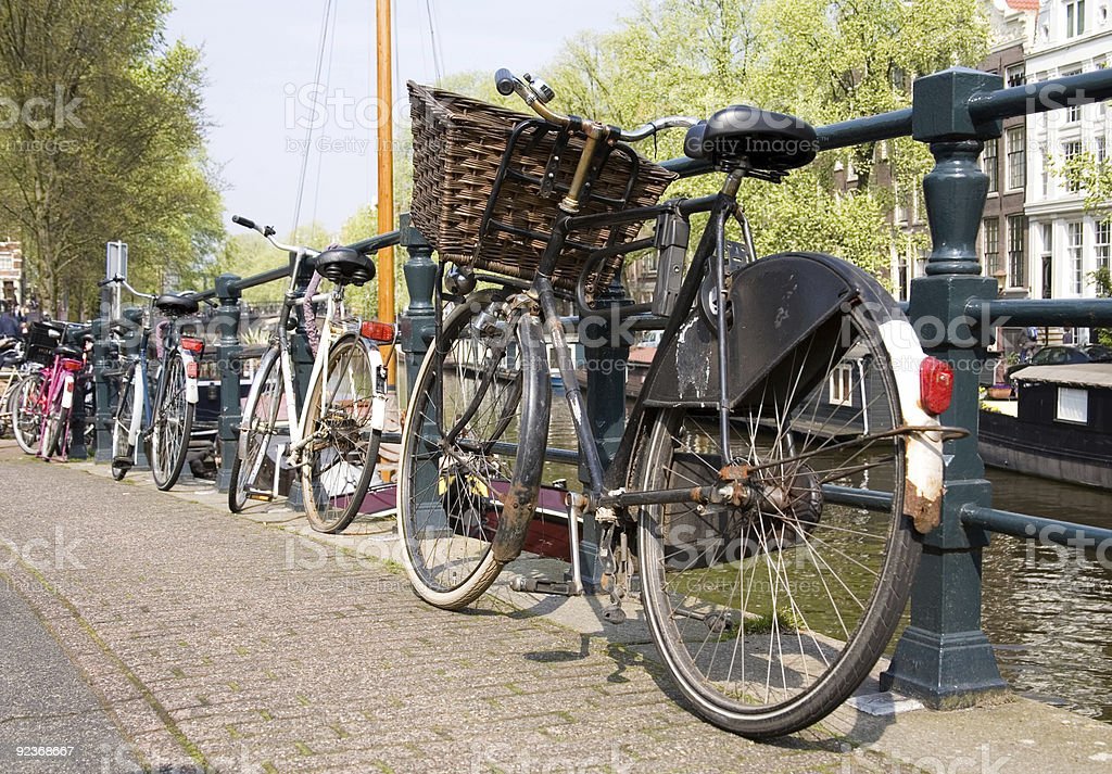 Bicycles, symbol of Amsterdam royalty-free stock photo