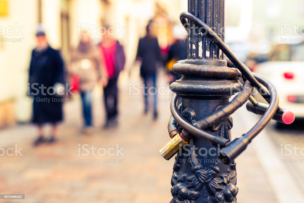 Bicycles unlocks stock photo
