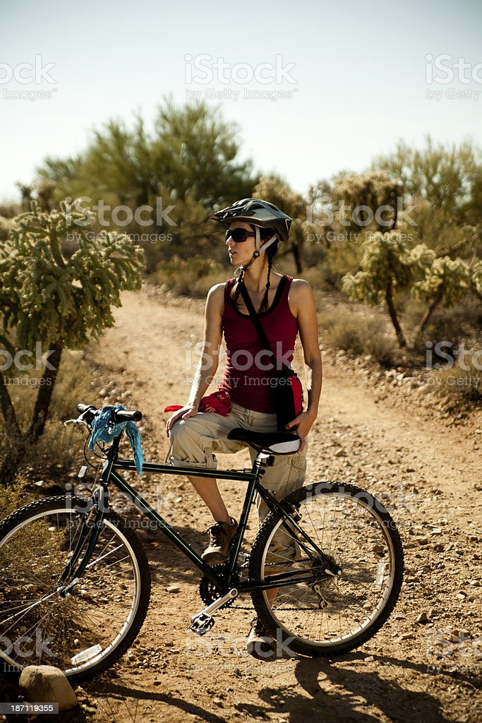 Bicycling in the desert royalty-free stock photo