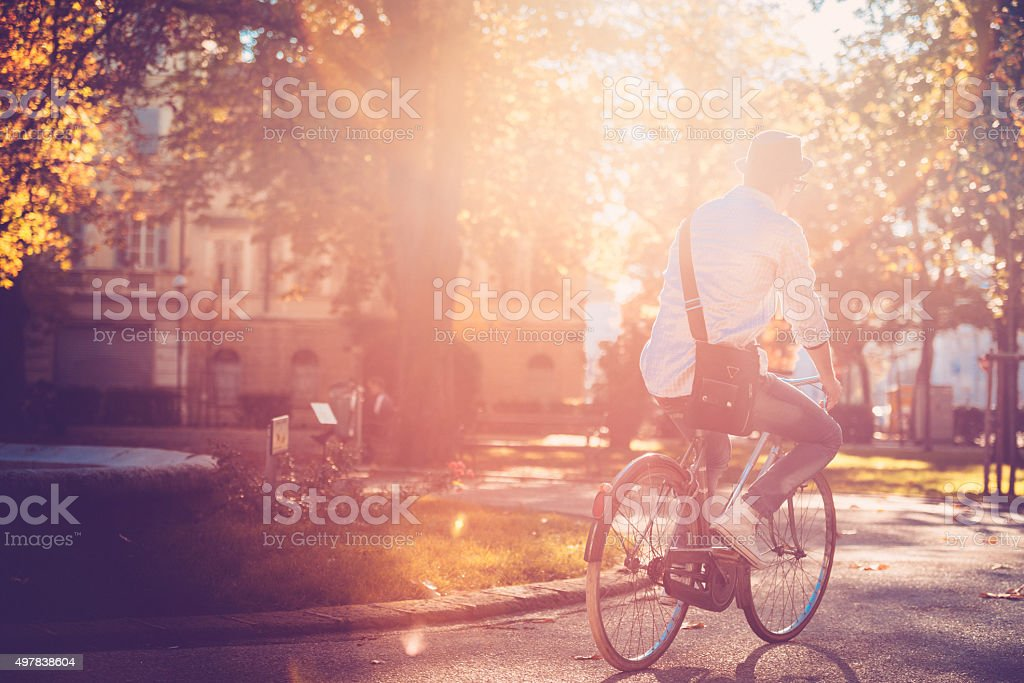 bicycling in the park stock photo