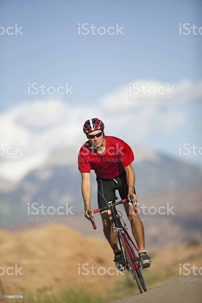 Bicycling On Slickrock Trail In Moab, Utah royalty-free stock photo