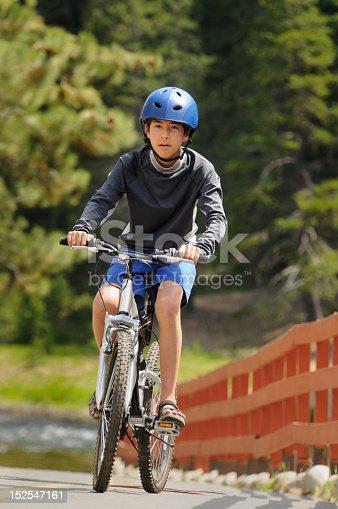 Bicycling on a bike path.