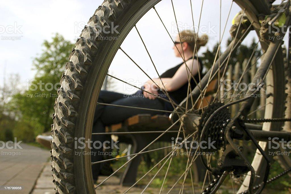Bicyclist break royalty-free stock photo
