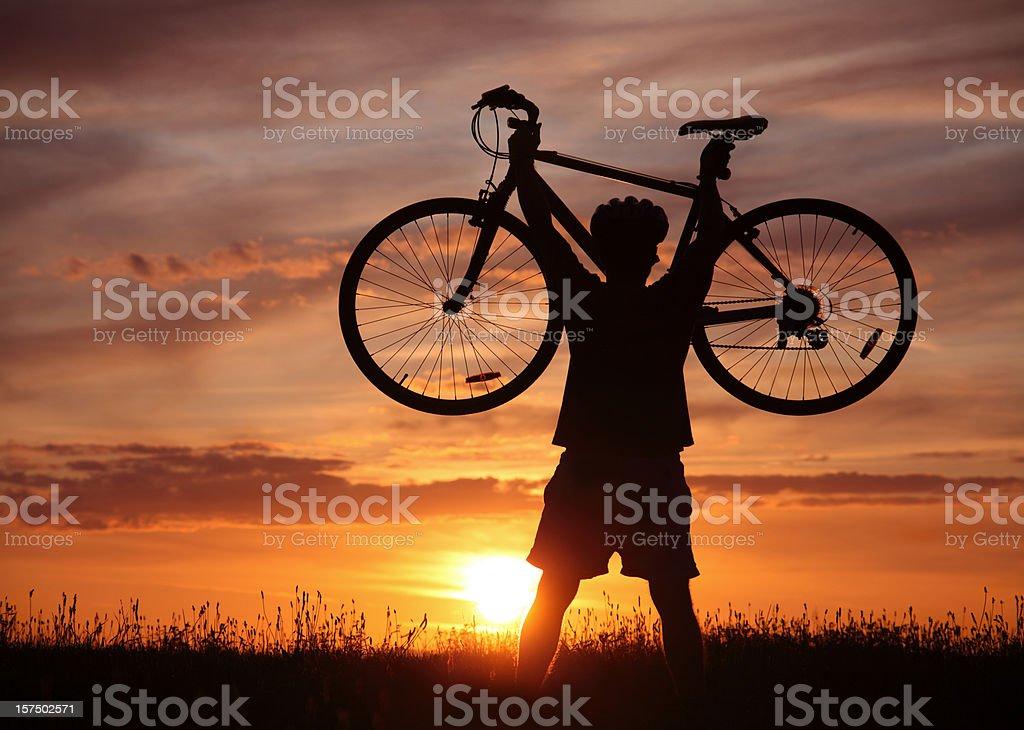 Bicyclist Enjoying His Success royalty-free stock photo