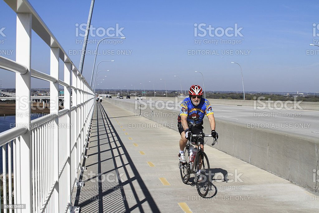 Bicyclist on Arthur Ravenel Bridge Charleston stock photo