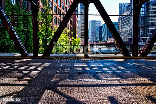 Bicyclist on Chicago's Lake Street, running underneath the