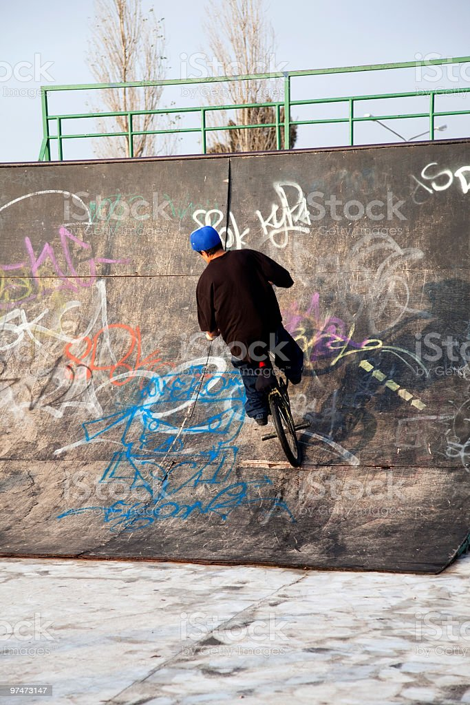 Bicyclist Riding on the Plathform royalty-free stock photo