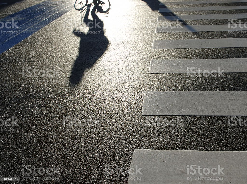 Bicyclist Shadow royalty-free stock photo
