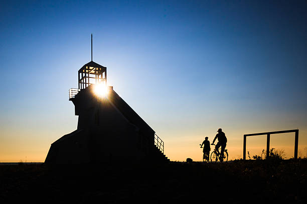 Bicyclist silhouette  on Sunset stock photo