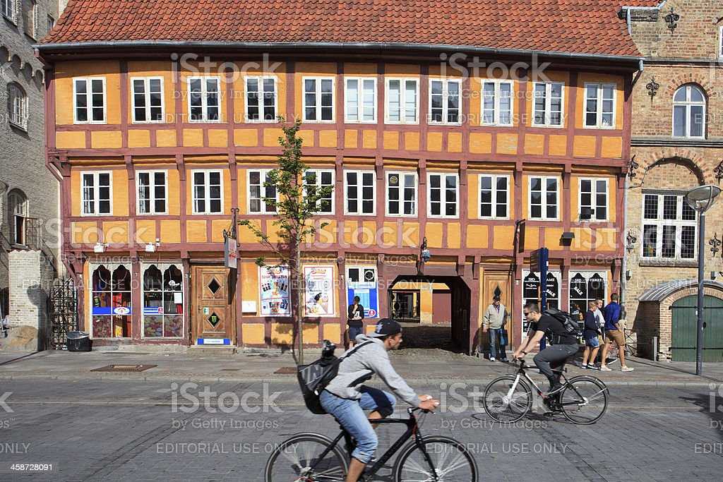 Bicyclists in front of the Jørgen Olufsen's House stock photo