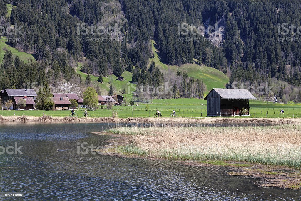 Bicyclists on a Sunday in Spring, Bernese Oberland stock photo