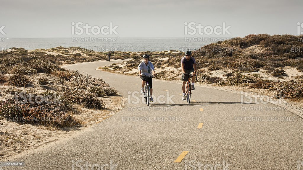 Bicyclists on Bicycle Path royalty-free stock photo