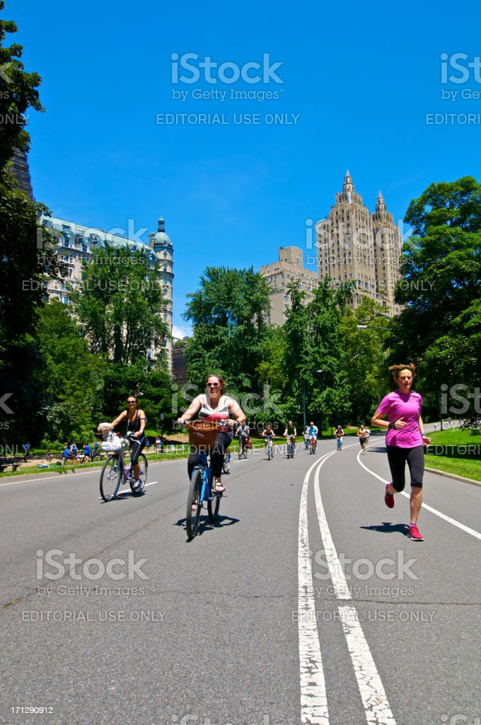 Bicyclists & Runners, Central Park, New York City royalty-free stock photo