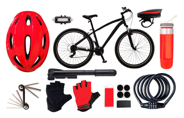 bicyclre and sport equipment - sport set competition round stock photos and pictures